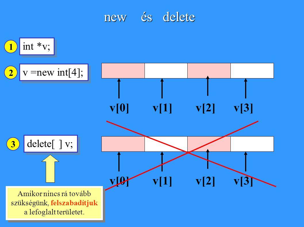 new és delete v[0] v[1] v[2] v[3] v[0] v[1] v[2] v[3] int *v;